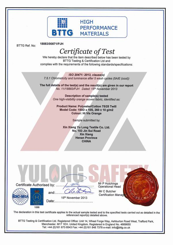 Certificate of ISO 20471 Hi Vis orange fabric