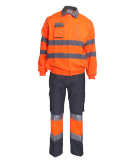 Fluorescent Orange Two Piece Coveralls