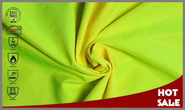modacrylic cotton FR antistatic fluorescent yellow color fabric