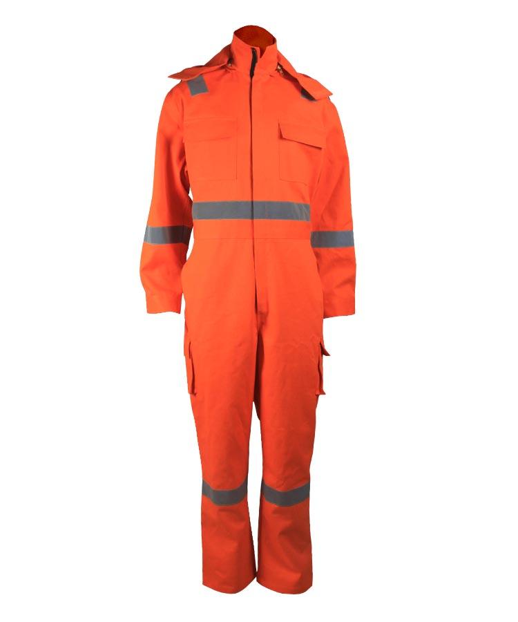 hi-vis orange coveralls