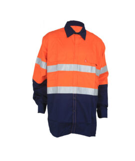 orange navy work shirt